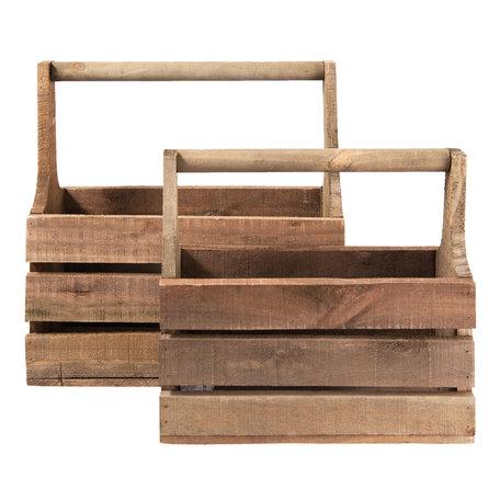 Kist van hout ( set van 2 ) 41*21*41 cm / 36*15*32 cm Creme | 6H1622 | Clayre & Eef