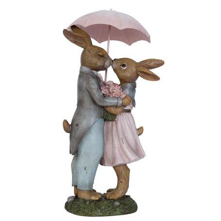 Decoratie konijn 17*15*34 cm Roze | 6PR0775 | Clayre & Eef