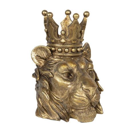 Decoratie leeuwen hoofd 23*21*29 cm Goudkleurig | 6PR2835 | Clayre & Eef