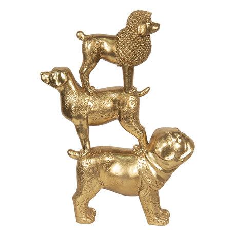 Decoratie honden 29*10*41 cm Goudkleurig | 6PR2855 | Clayre & Eef