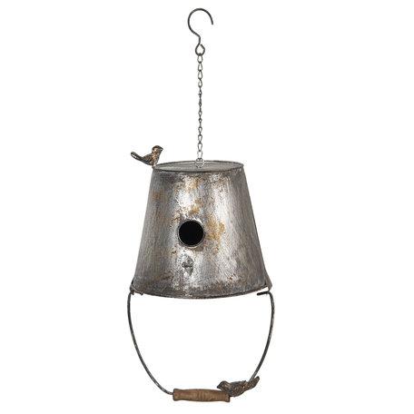 Decoratie vogelhuis 25*25*40/60 cm Grijs   6Y3816   Clayre & Eef