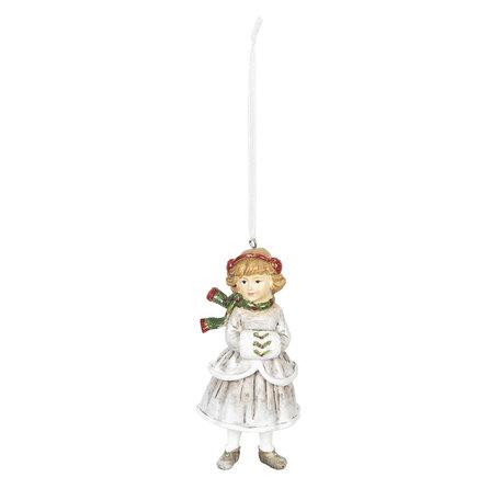 Decoratie hanger 5*5*12 cm Wit | 6PR2790 | Clayre & Eef