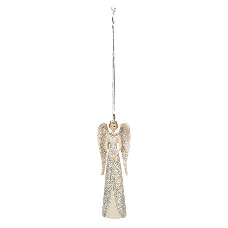 2 STUKS Decoratie hanger engel 3*2*10 cm Wit | 6PR2799 | Clayre & Eef