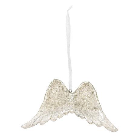2 STUKS Decoratie hanger 12*2*9 cm Wit | 6PR2804 | Clayre & Eef