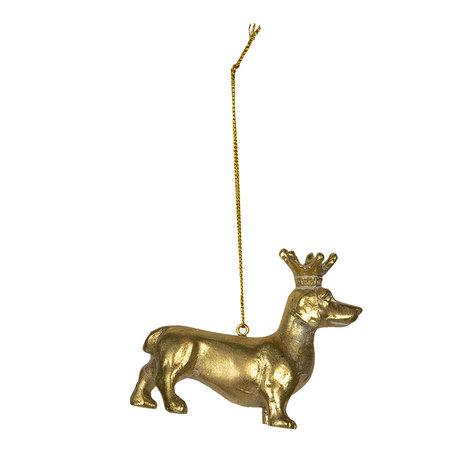 Decoratie hond 8*3*6 cm Goudkleurig | 6PR2927 | Clayre & Eef