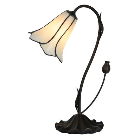 Tafellamp Tiffany ø 17*43 cm E14/max 1*25W Wit | 5LL-6046 | Clayre & Eef