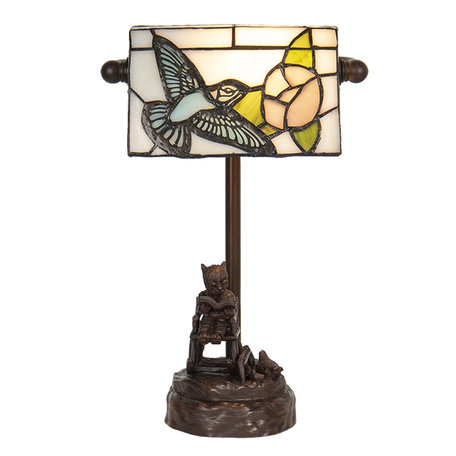 Bureaulamp Tiffany 17*15*28 cm E14/max 1*25W Meerkleurig | 5LL-6050 | Clayre & Eef