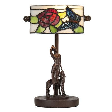 Bureaulamp Tiffany 17*15*28 cm E14/max 1*25W Meerkleurig | 5LL-6051 | Clayre & Eef