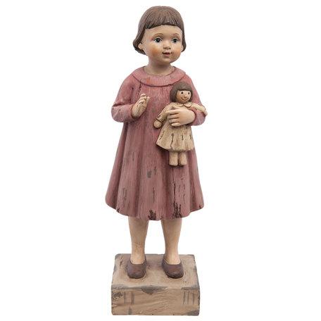 Decoratie beeld meisje 10*8*28 cm Roze | 6PR1164 | Clayre & Eef