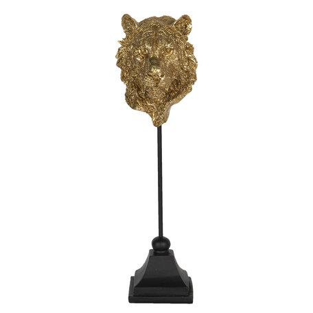 Decoratie leeuw 10*11*37 cm Goudkleurig | 6PR3010 | Clayre & Eef