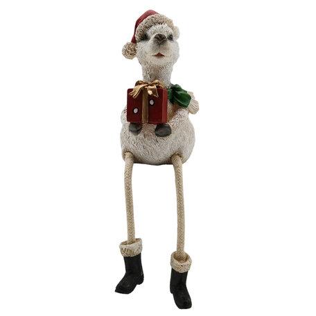 Decoratie figuur alpaca 8*7*11 cm Meerkleurig   6PR2737   Clayre & Eef