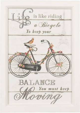 Tekstbord riding a Bicycle 25 x 2 x 35 cm wit hout  | 6H0782 | Clayre & Eef