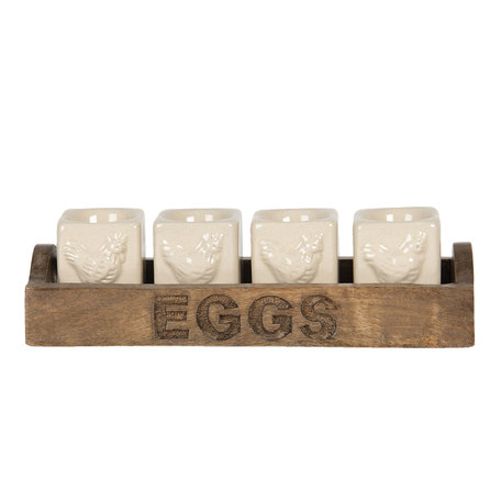 Eierdopjes ( set 4 ) op houten schaal 26*9*7 cm Creme | 64542 | Clayre & Eef