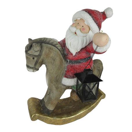 Decoratie kerstman op hobbelpaard 35*25*46 cm Meerkleurig | 6CE1132 | Clayre & Eef