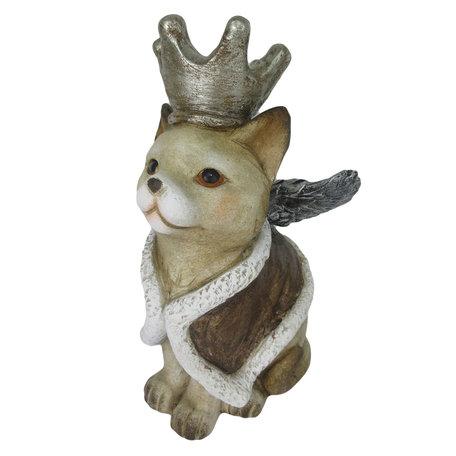 Decoratie kat met vleugels 34*21*37 cm Grijs | 6CE1134 | Clayre & Eef