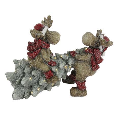 Decoratie rendieren met kerstboom LED 39*26*29 cm Meerkleurig | 6CE1140 | Clayre & Eef