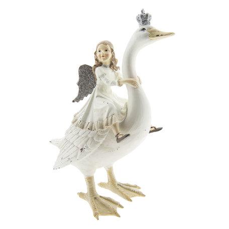 Decoratie gans met engel 25*13*30 cm Wit | 6PR2400 | Clayre & Eef