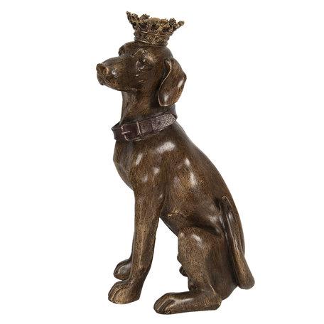 Decoratie hond zittend 21*18*40 cm Bruin | 6PR3008 | Clayre & Eef