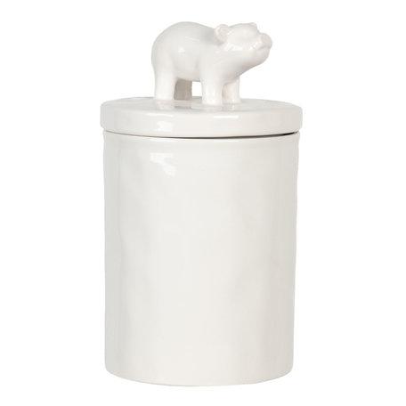 Voorraadpot met deksel varken ø 11*19 cm Wit | 6CE1105 | Clayre & Eef