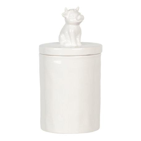 Voorraadpot met deksel koe ø 11*19 cm Wit | 6CE1106 | Clayre & Eef