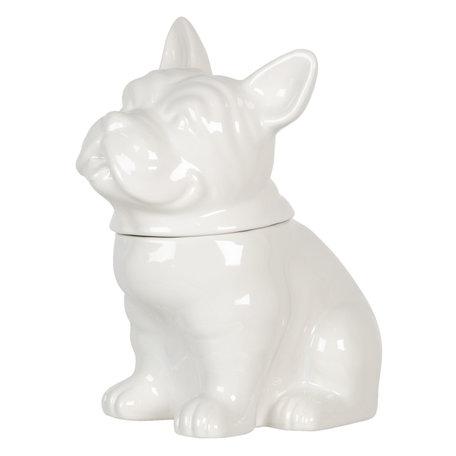 Voorraadpot met deksel hond 22*15*24 cm Wit | 6CE1108 | Clayre & Eef