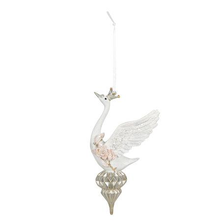 Decoratie hanger 10*6*16 cm Wit   6PR2893   Clayre & Eef