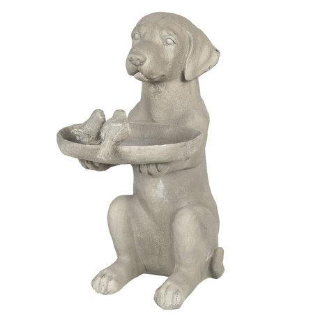 Decoratie hond met vogelvoederbak 38*26*48 cm Grijs | 6PR2902 | Clayre & Eef
