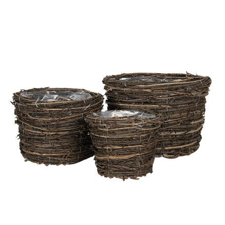Bloempotten (set van 3) ø 17*14 / 24*17 / 30*20 cm Bruin | 6RO0475 | Clayre & Eef