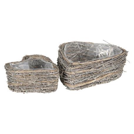 Bloempotten (set van 2) ø 22*9 / 30*11 cm Grijs   6RO0476   Clayre & Eef