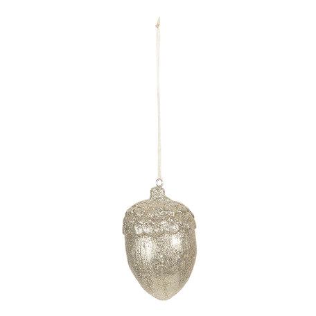 Decoratie hanger eikel ø 5*7 cm Goudkleurig | 6PR3018 | Clayre & Eef