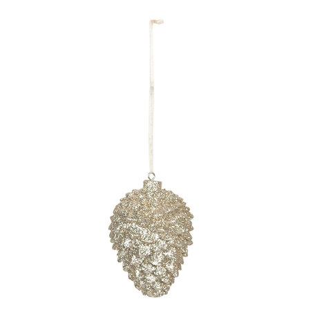 Decoratie hanger dennenappel ø 5*7 cm Goudkleurig | 6PR3019 | Clayre & Eef