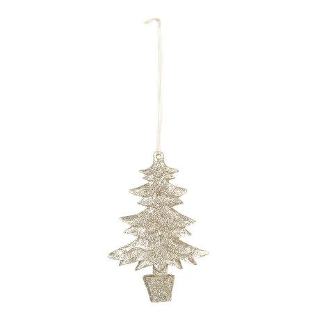Decoratie hanger kerstboom 7*1*11 cm Goudkleurig | 6PR3030 | Clayre & Eef