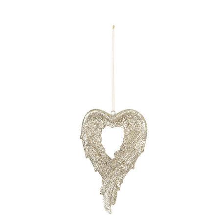 Decoratie hanger hart 7*1*12 cm Goudkleurig | 6PR3032 | Clayre & Eef