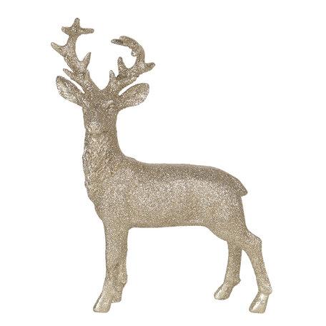 Decoratie hert 17*6*25 cm Goudkleurig   6PR3036   Clayre & Eef