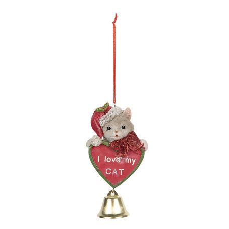 Decoratie hanger kat 7*4*12 cm Multi | 6PR3051 | Clayre & Eef