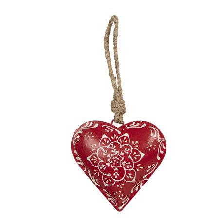 Decoratie hanger hart 10*2*10 cm Rood | 6Y3716 | Clayre & Eef