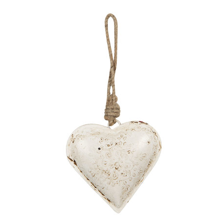 Decoratie hanger hart 10*2*10 cm Creme | 6Y3718 | Clayre & Eef