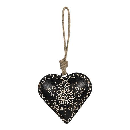 Decoratie hanger hart 10*2*10 cm Zwart | 6Y4163 | Clayre & Eef