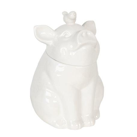 Voorraadpot met deksel varken 19*18*24 cm Wit | 6CE1103 | Clayre & Eef