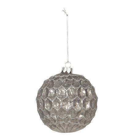 Kerstbal (set van 4) ø 10 cm Zilverkleurig | 6GL2691 | Clayre & Eef