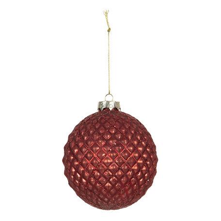 Kerstbal (set van 4) ø 10 cm Rood | 6GL2694 | Clayre & Eef