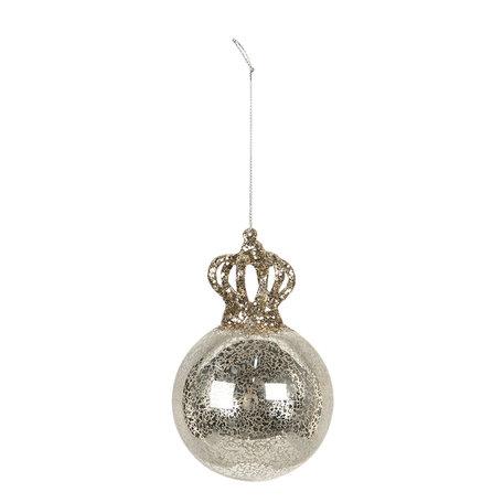 Kerstbal (set van 4) ø 8*12 cm (4) Zilverkleurig | 6GL2745 | Clayre & Eef