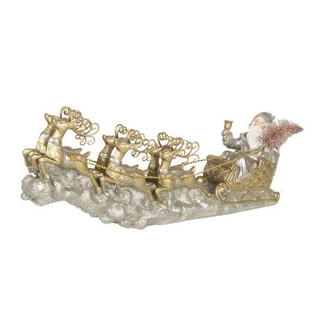 Decoratie kerstman in slee 36*6*15 cm Goudkleurig | 6PR3040 | Clayre & Eef