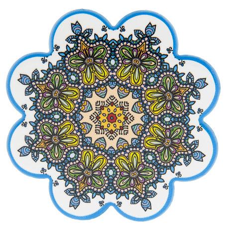 Onderzetter (4 pcs) ø 11 cm ( set 4 ) Meerkleurig | 6CE0986 | Clayre & Eef