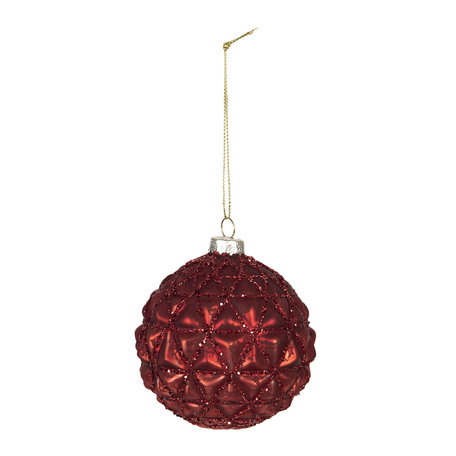 Kerstbal (set van 4) ø 8 cm Rood | 6GL2696 | Clayre & Eef