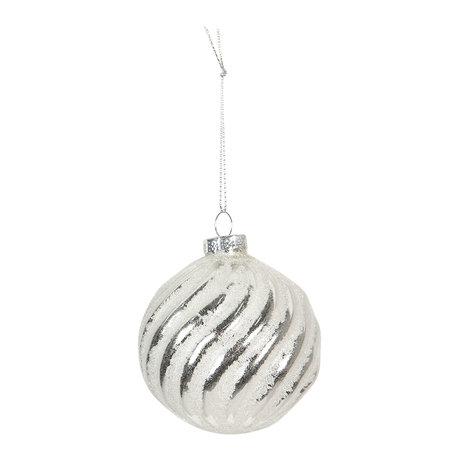 Kerstbal (set van 4) ø 8 cm Wit | 6GL2698 | Clayre & Eef