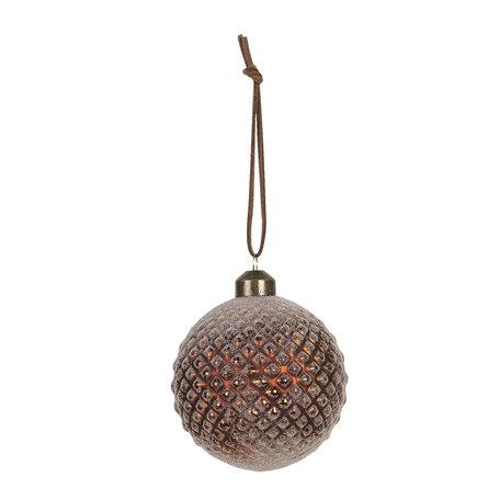 Kerstbal (set van 4) ø 8 cm Bruin | 6GL2709 | Clayre & Eef