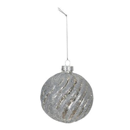 Kerstbal (set van 4) ø 8 cm Zilverkleurig | 6GL2731 | Clayre & Eef