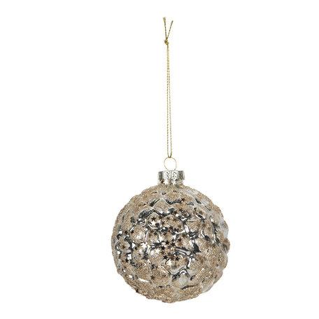 Kerstbal ø 8 cm (4) Zilverkleurig | 6GL2733 | Clayre & Eef