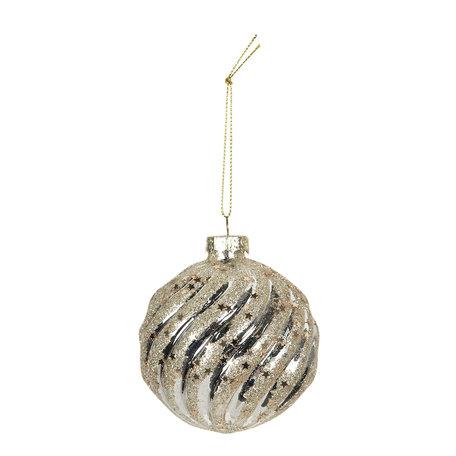 Kerstbal ø 8 cm (4) Zilverkleurig | 6GL2734 | Clayre & Eef